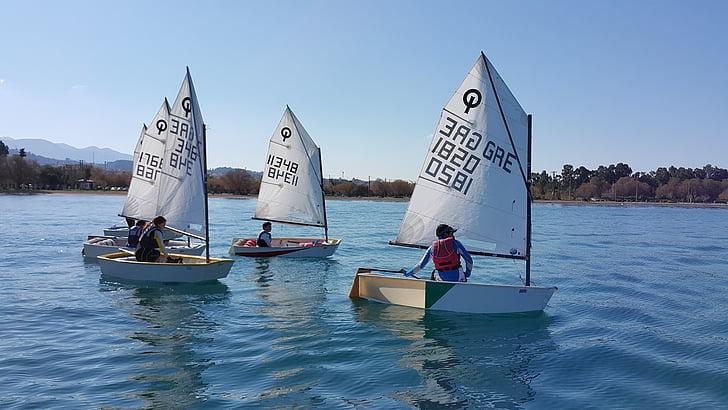 Yachting, upbeat, havet, barn