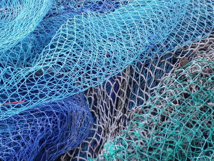 net, fishing, fisherman, port, sea, trawler, blue