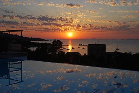 tramonto, mare, Abendstimmung, sole, Corsica, il mirroring, piscina