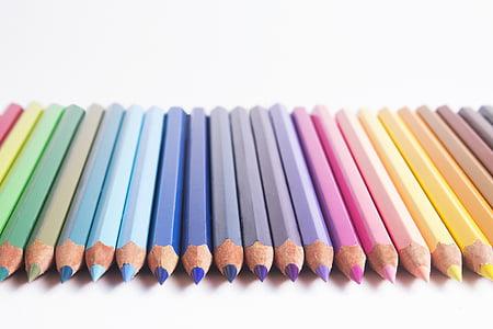 pencils, colors, pastels, rainbow, drawing, artistic, art