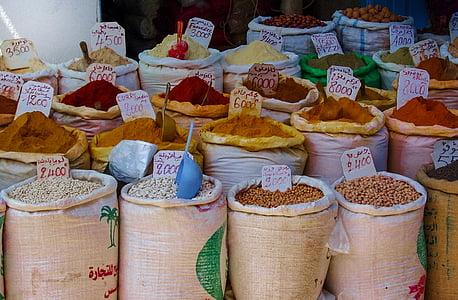 gia vị, thị trường, thực phẩm, hạt tiêu, màu đỏ, nấu ăn, hữu cơ