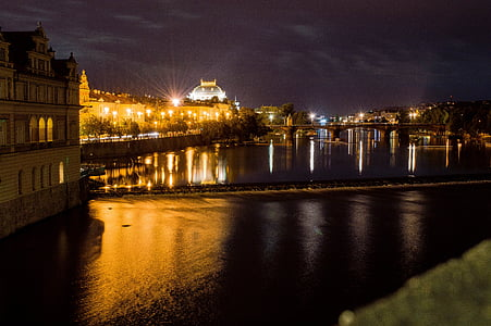 valsts teātris, Prague, naktī, gaismas, pilsēta, charle ir tilts, vēsture