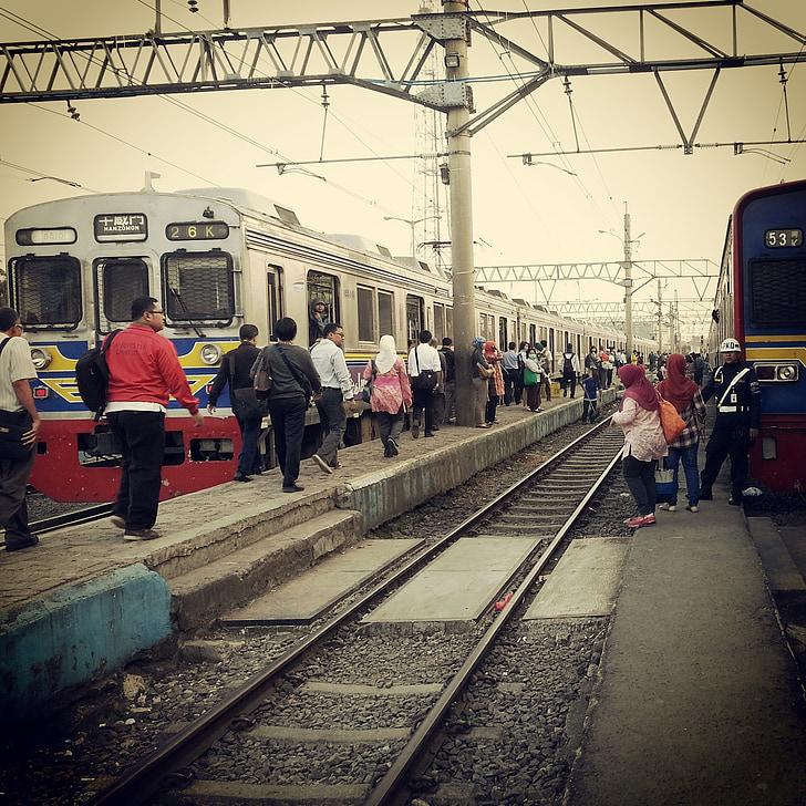 Pociąg, Stacja, pasażer, Vintage, ludzie, podróży, Indonezyjski