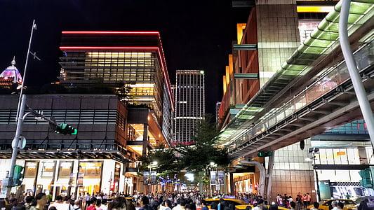 ciutat, nit, ciutat de nit, arquitectura, multitud, persones, Panorama urbà
