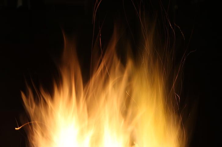 krupne, vatra, vatra jama, plamen, plamen, topline, noć