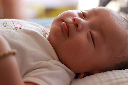 nadó, em bé, valent nadó, nen, valent, petit, dormint