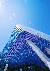 arquitectura, edifici, contemporani, futurista, vidre, baix angle de tir, Perspectiva