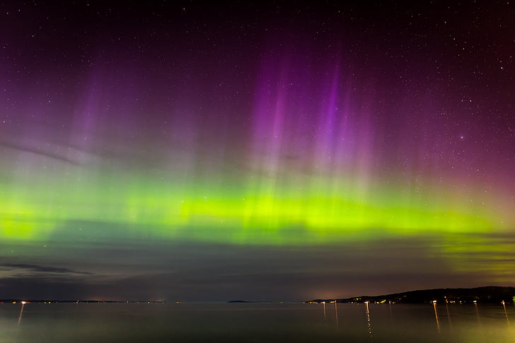 Aurora, nordlys, Borealis, nat, fænomen, magnetisk, atmosfære