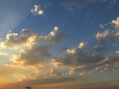 atardecer nuboso, Horizon, hermosa, sol, por la tarde, panorama, paisaje