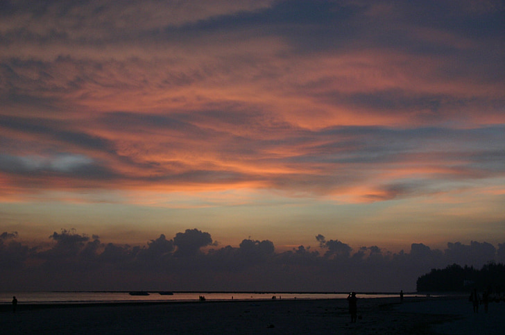 pôr do sol, Lago, noite, nuvens, arrebol, abendstimmung