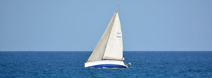 båt, segelbåt, havet, Ocean, blå, landskap, segling