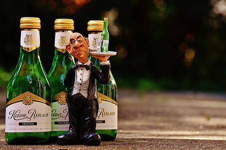 pelayan, anggur, melayani, kontrol, minuman, atas, Butler
