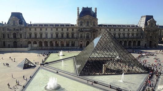 püramiid, klaas, Louvre, muuseum, Pariis