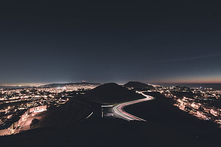 aerial, photography, cars, road, distance, city, timelapse