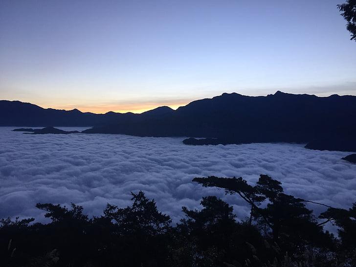 Alishan, Mountain, soluppgång, vacker natur, molnet, Twilight, naturen
