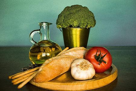 ブロッコリー, パン, トマト, ニンニク, 油, 野菜, 食品