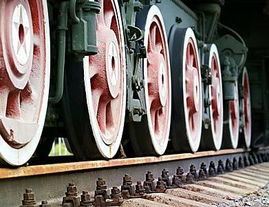 Rails, tåg, fälgar, sliprar, sättet, järnväg, elektrichka