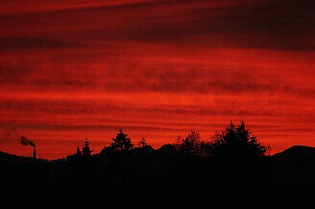 morgenrot, vermell, cel, Alba, estat d'ànim, resplendor, cel vermell
