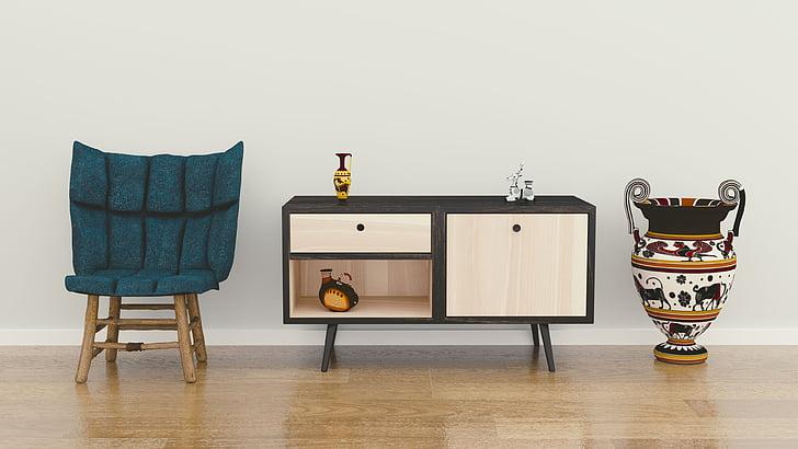 sala, interior, aparador, disseny, cadira, Pau, fusta
