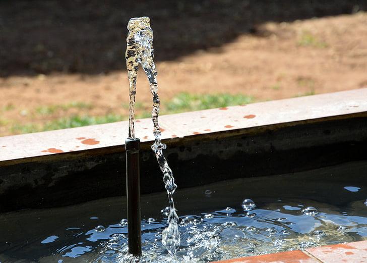 vannfontenen, sprinkleranlegg, våte