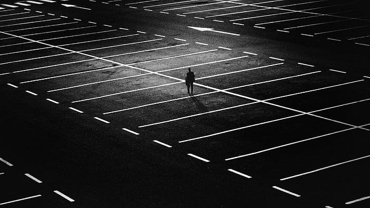 pilsēta, cilvēki, iela, naktī, gaismas, vīrietis, tumša