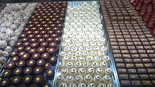 chocolates, milk chocolate, white chocolate, truffle, candy, food, treat