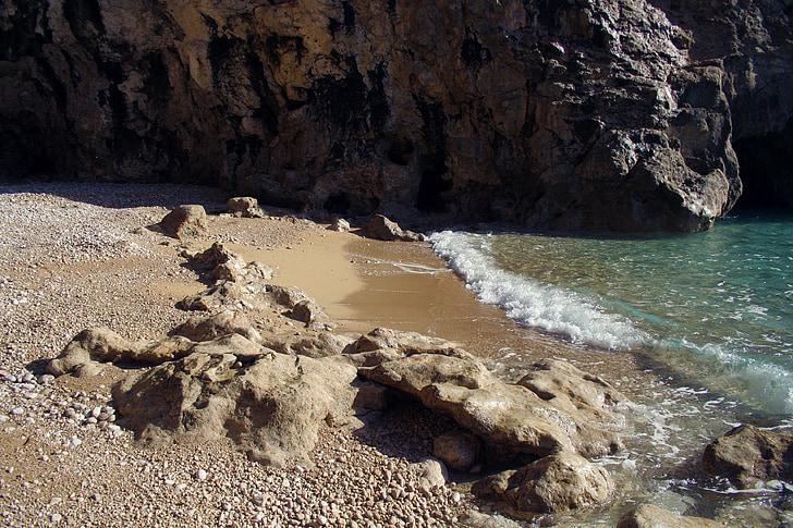 platja, sorra, Roca, Mar, pedra, l'estiu, vacances