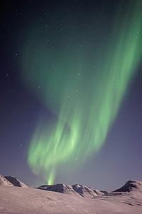 aurora boreal, fred, paisatge, llums del nord, a l'exterior, cel, neu