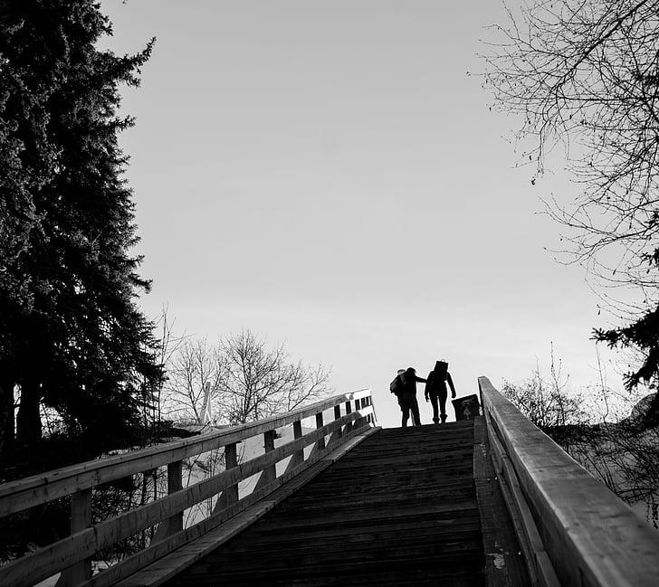 du, asmuo, ėjimo, laiptais, veiksmus, laiptai, žmonės