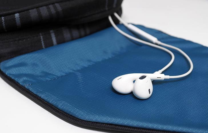 kõrvaklapid, kott, Kuulake muusikat, valge, Travel, Turism, lõõgastuda