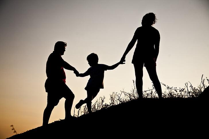 실루엣, 가족, 조 경, 자연, 아이, 여가 활동, 여자