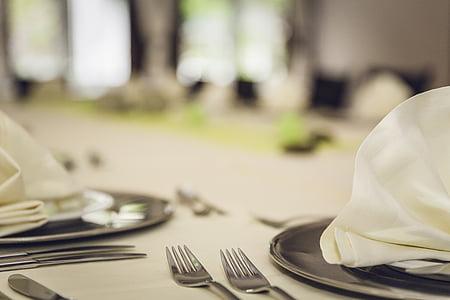 placa, coberta, Restaurant, taula, forquilla, menjar, Junta