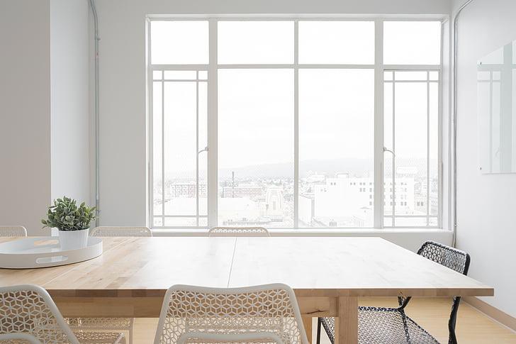 balta, istabu, tabula, krēsli, logs, stikls, vāze