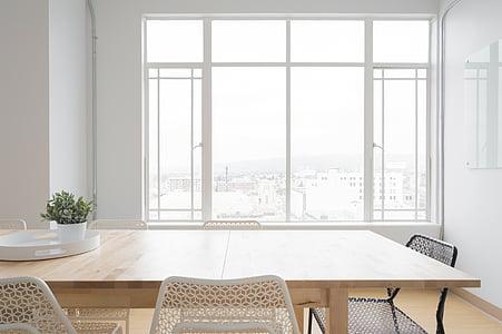 blanc, sala, taula, cadires, finestra, vidre, Gerro