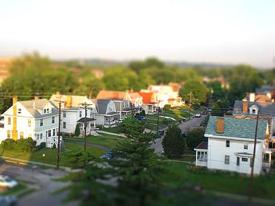 cases, habitatges unifamiliars, zona residencial, EUA, TiltShift, viure, carretera