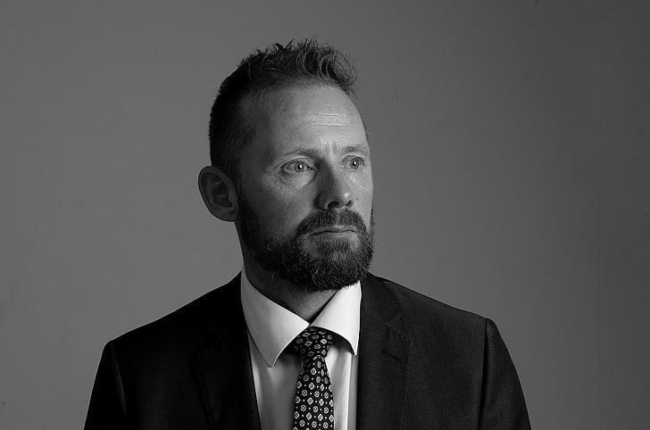 portrait, man, beard, black and white, businessman, studio shot, one person