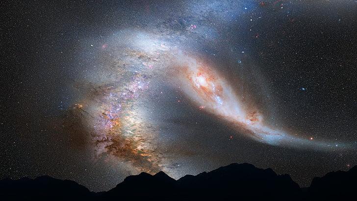 Andromeda-galaksen, Mælkevejen, kollision, plads, stjerner, universet, Sky