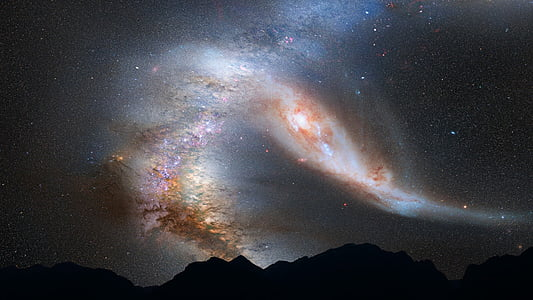 Andromedas galaktika, galaktika, sadursme, telpa, zvaigznes, Visums, debesis