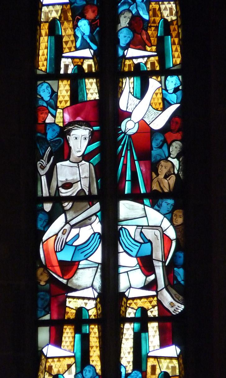 finestra de l'església, vidrieres, finestra, l'església, fe, finestra de vidre, color