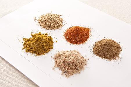 espècies, condiment, taula de menjador, cuina, cuina