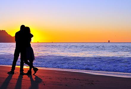 couple, kissing, hugging, love, man, woman, romance