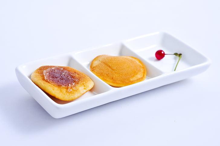 dorayaki, užkandžiai, popietės arbata užkandžiai, skanus, paprastas, raudonųjų vaisių, uogienė