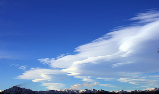 sky, mountain, cloud, mountains, clouds, landscape, nature