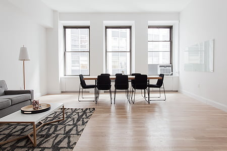 blanc, marró, fusta, Centre, taula, interior, cadires