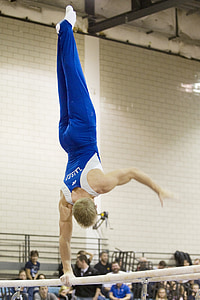 gymnastics, athlete, parallel bars, muscular, power, exercise, strong