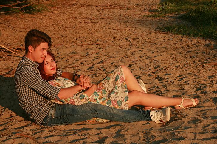 paar, Armastus, Beach, õnne, liiv, inimesed, mehed
