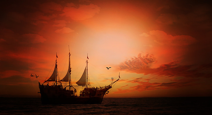sea, ship, sailing vessel, water, sky, clouds, sunset