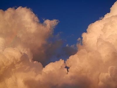 ουράνιο τόξο, σύννεφα, ουράνιο τόξο στα σύννεφα, αφράτο, φύση, σύννεφα του ουρανού, καιρικές συνθήκες