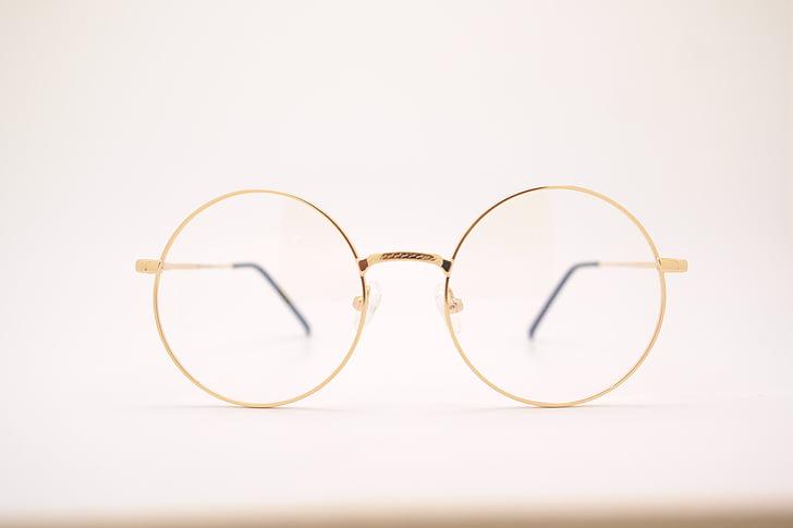 мъгла, едър план, метил-Ангел терапия, очила, Златни, метална рамка, кръг
