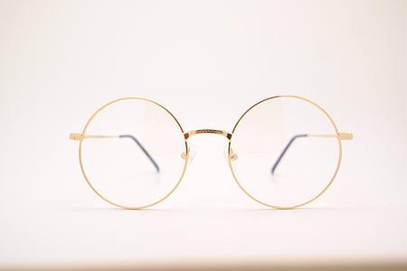 sfocatura, Close-up, terapia di Fluke-Angelo, occhiali, d'oro, telaio in metallo, rotondo